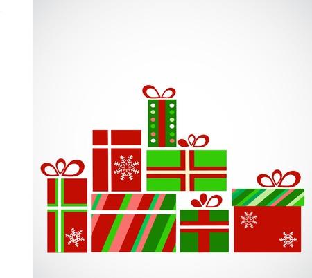 stapel papieren: stapel cadeaus voor kerst Stock Illustratie