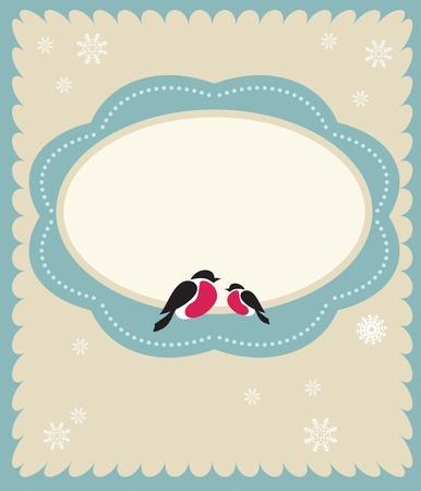 two Bullfinch birds,  christmas card template Vector