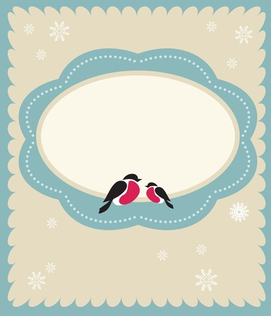 bullfinch: two Bullfinch birds,  christmas card template