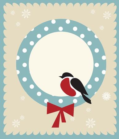 Bullfinch bird,   christmas card template Vector