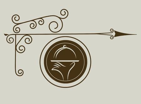 serveur avec plateau: Signe de la rue antique de restauration Illustration