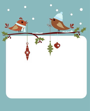 template of christmas card with birds
