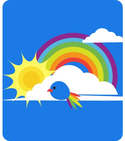 sky view of rainbow, sun, clouds and bird Vector