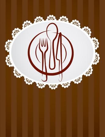 place setting: restaurant menu template  Illustration