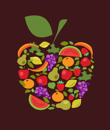 apple with fruits and vegetables pattern Stock Vector - 11549145