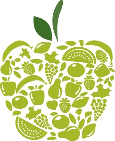 白の果物や野菜のパターンとアップル