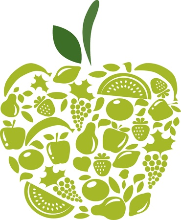 apple with fruits and vegetables pattern on white