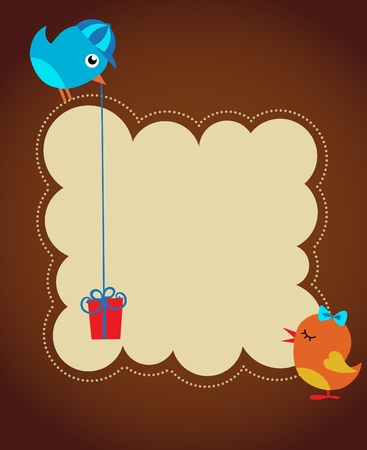 greeting card template with two birds Vector