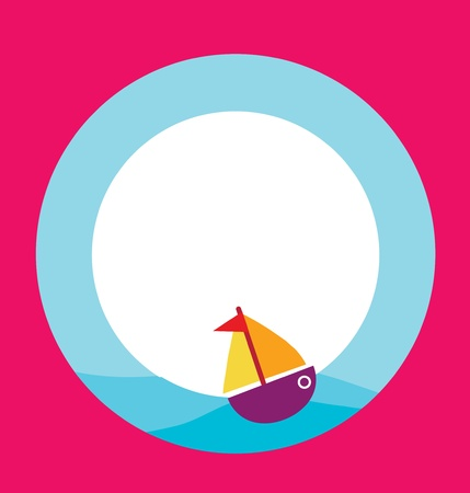 card template with toy boat Vector