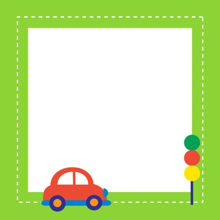 red car with traffic light Vector