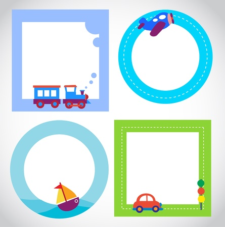 card templates with toy transportation Illustration