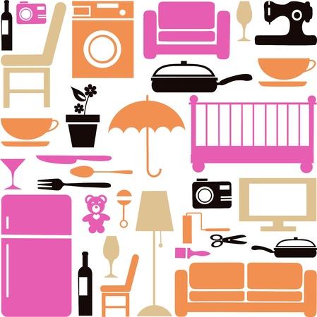 black appliances: Casa impostato con mobili e elctronics