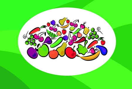 fruits and vegetables on card Vector