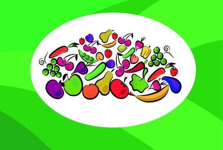 elote caricatura: frutas y verduras en la tarjeta Vectores