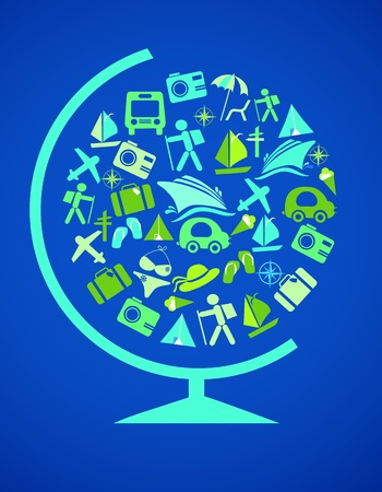 blue globe with traveling template