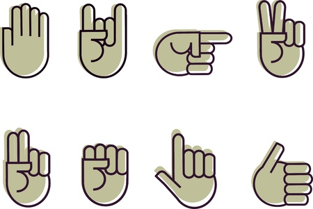 two thumbs up: set of hand signes Illustration