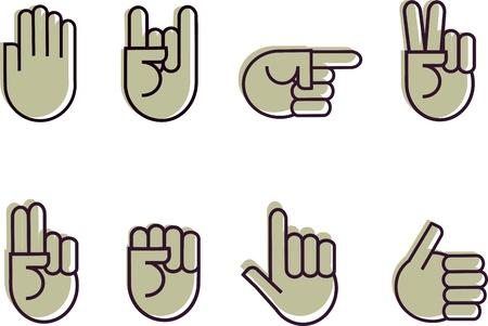 set van de hand Signes Vector Illustratie