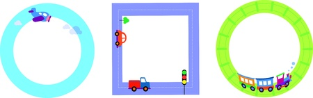 card templates with toy transportation Vector