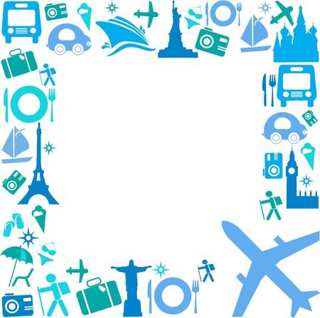 flying boat: Cuadro con los iconos de viajes