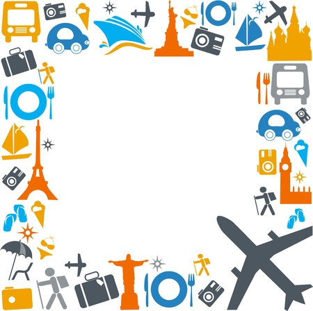 colorful traveling and transportation icons Illustration