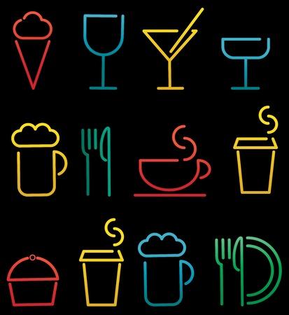 colorful beverage and food set  Illustration