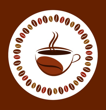 cup of hot coffee with coffee bean frame Vector