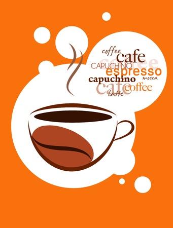 chicchi caff� su sfondo bianco: tazza di caff� caldo su sfondo arancione