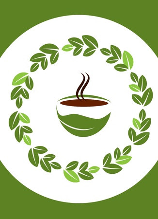 cup of hot coffee with coffee leafs frame Vector