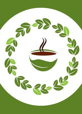 chicchi caff� su sfondo bianco: tazza di caff� caldo con telaio caff� foglie Vettoriali