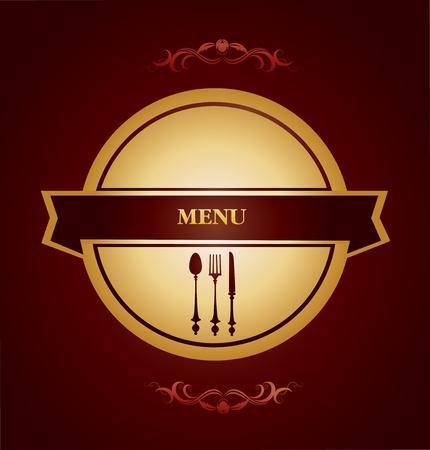 formal place setting: restaurant menu design Illustration