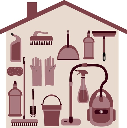 house cleaner: house set with furnitures and elctronics