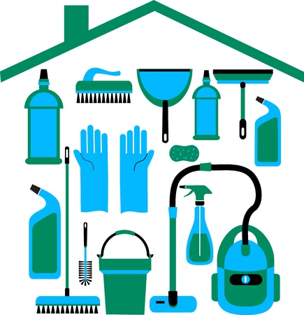house clean: house set in blue colors