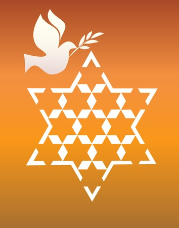 jews: peace pigeon with david star on orange