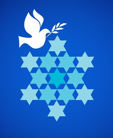 jewish faith: peace pigeon with david star on blue
