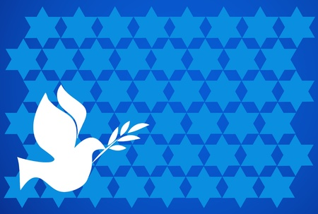 shalom: peace pigeon on  blue background