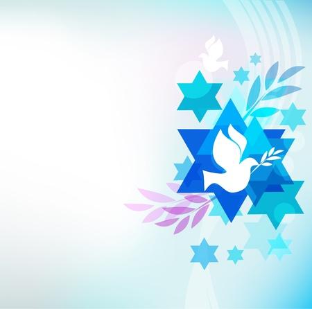 estrella de david: plantilla de la tarjeta con símbolos judíos