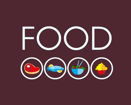 food icons with meat and vegetarian food Vector