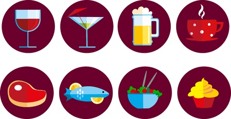 set of food and drink icons Vector