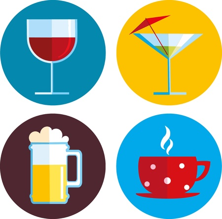 cold drinks: drink icons with different beverage