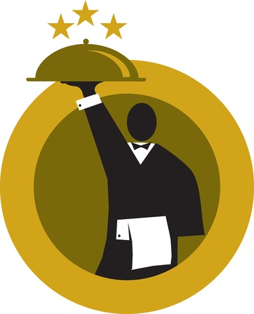 service occupation: menu template with weiter holding meal dish Illustration