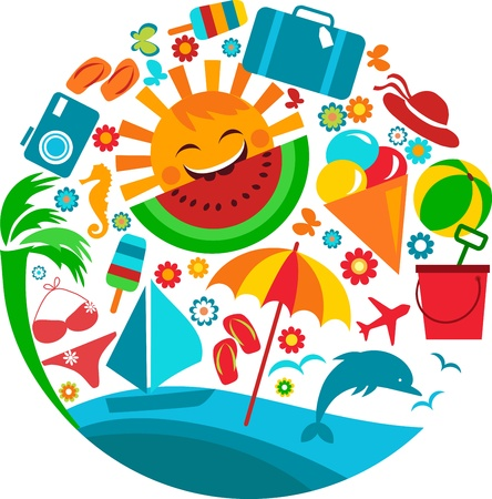 vacation: summer vacation; template of summer icons Illustration