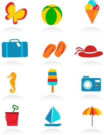 beach umbrella: colorful summer icons