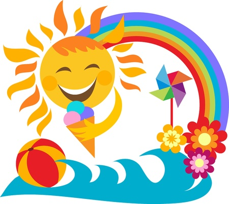 summer vacation; happy sun holding ice cream Vector