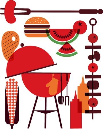 set of bbq objects Illustration
