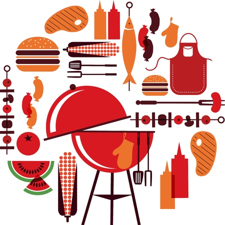 set of bbq objects Illustration