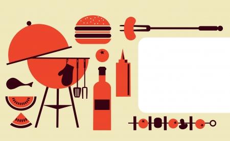 invitaci�n a fiesta: BBQ Party plantilla de la invitaci�n Vectores