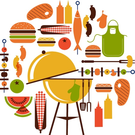 bbq picnic: set of bbq objects Illustration