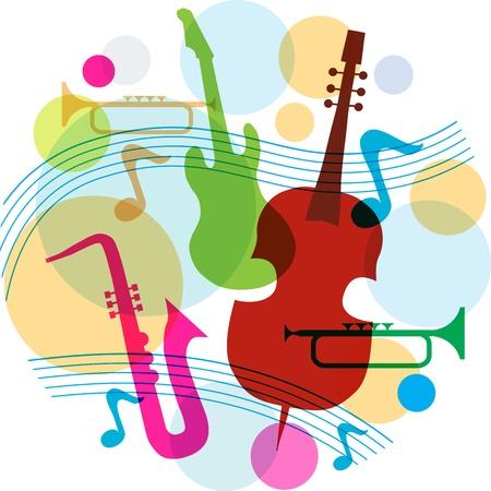 guitarra clásica: la m�sica de plantilla con las notas, la guitarra y el saxof�n