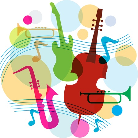 music template with notes, guitar and saxophone  Stock Vector - 14236389