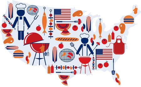4th of July celebration; Flag with barbecue icons Vector